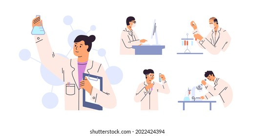 Set of scientists during lab scientific researches. Chemists discovering antiviral remedies in chemical and medical laboratories. Doctors studying samples. Flat vector illustration isolated on white