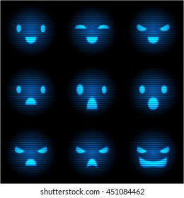 Set of Sci-Fi Blue Emoticons. Emoji Neon Style Illustrations. Vector EPS10.