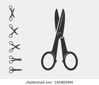 Set scissor icon. Scissors vector design element or logo template. Black and white silhouette isolated.