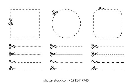 Set of scissors with cut lines and coupon cutting icon. Black scissors and dotted line. Cut stickers. Vector illustration.