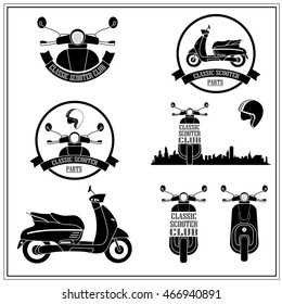 vintage scooter vector front images stock photos vectors shutterstock https www shutterstock com image vector set scooter logos icons badges isolated 466940891