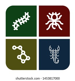 Set of scorpion icons such as Scolopendra, Pheidole, Constellation, Scorpion , scorpion