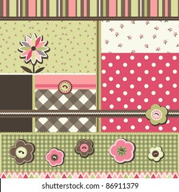 Set of scrapbook elements and textures, vector