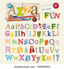 Set of scrapbook letters and elements - alphabet with original pattern for each letter