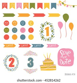 Set scrapbooking cards, tapes, labels, labels with hand drawn textures. Templates for placards posters, flyers and banners Designs, card printing magazines, blogs.