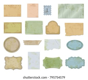 Set of scraps paper pieces badges frames vector illustration