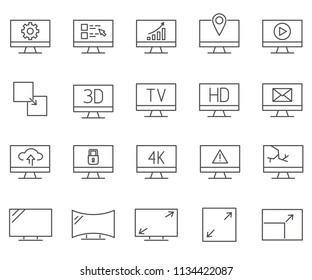 Set of Screen Related Vector Line Icons. Contains such Icons as PC, monitor, display, desktop and more.