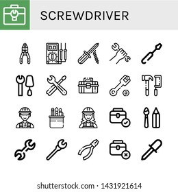 Set of screwdriver icons such as Toolbox, Plier, Multimeter, Screwdriver, Wrench, Tools, Electrician, Paint tools, Pliers , screwdriver