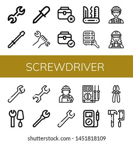Set of screwdriver icons such as Wrench, Screwdriver, Toolbox, Swiss army knife, Maintenance, Electrician, Tools, Multimeter, Plier , screwdriver