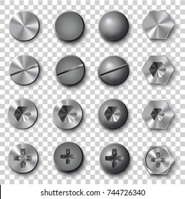 Set of screws and bolts on transparent background. Vector illustration