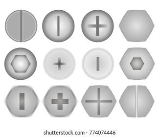Set of screws and bolts on white background. Vector illustration