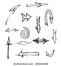 Set of scribble arrows/ Hand drawn vector/ Design elements