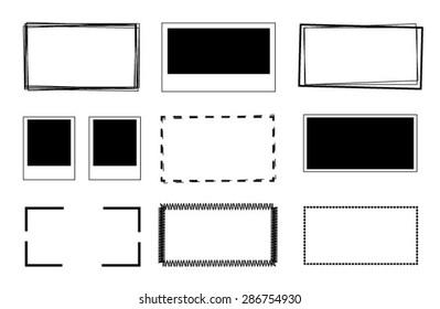 set of scribble rectangle frames. Vector design elements.