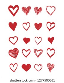 Set of scribble red hearts. Collection of heart shapes draw the hand . Symbol of love. Design elements for Valentine's Day card. Vector hearts. Vector illustration.