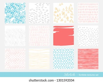 Set of scribble texture background with colors