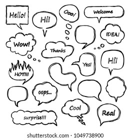 Set of scribbled comic speech bubbles with hand drawn doodle style. Vector talk and thought sketch bubbles.