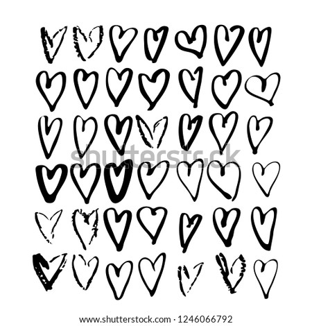 Set Scribbled Hand Drawn Hearts Vector Stock Vector Royalty Free