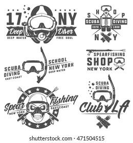 Set of scuba diving elements for emblems,logo ,prints,tattoo,label and design. Deep scuba diving mask.