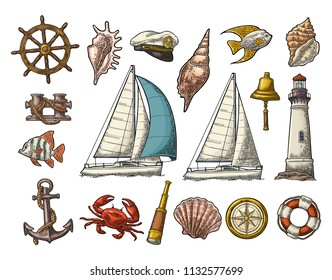 Set sea adventure. Anchor, wheel, yacht, compass rose, spyglass, bell, lifebuoy, lighthouse isolated on white background. Vector color vintage engraving illustration. For poster yacht club and tattoo