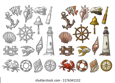 Set sea adventure. Anchor, wheel, bollard, hat, compass rose, shell, crab, bell, lifebuoy, lighthouse isolated on white background. Vector color vintage engraving illustration. For poster yacht club.
