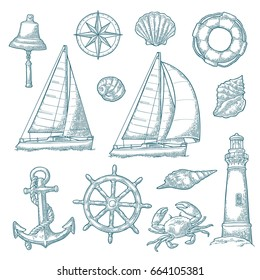 Set sea adventure. Anchor, wheel, sailing ship, compass rose, shell, crab, bell, lifebuoy, lighthouse isolated on white background. Vector blue vintage engraving illustration. For poster yacht club.