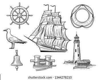 A set of sea adventures. Anchor, wheel, caravel, bollard, gull, bell, lifebuoy, lighthouse isolated on a white background. Vector illustration of vintage style.