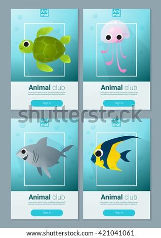 set sea animal templates web design stock vector royalty free