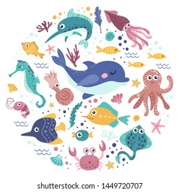 Set of sea animals. Colorful vector illustration collection
