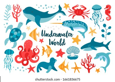 Set of sea animals in flat style hand drawn. Vector clip-art for the design of children's products. Fish, jellyfish, corals. Beautiful underwater world in red and blue colors