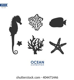 set of sea animals isolated on white, vector silhouettes of seahorse, starfish, sea plants and corals