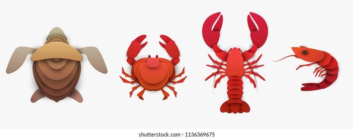 Conjunto de animais marinhos em estilo gráfico de artesanato de corte de papel na moda. Tartaruga, lagosta, camarão, caranguejo. Design moderno para publicidade, cartão de marca, capa, cartaz, banner. Ilustração vetorial.