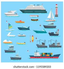 set sea boats vector illustration