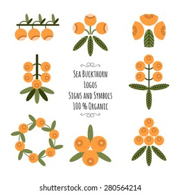 Set of the sea buckthorn logos, signs and symbols for natural cosmetic products
