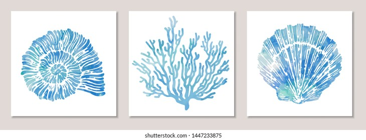 Set of sea elements in blue watercolor style: seashells, starfish, coral. Composition of illustrations on wall in white frames