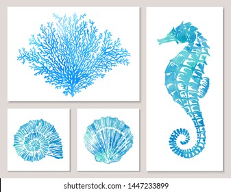 Set of sea elements in blue watercolor style: seashells, starfish, seahorse, coral. Composition of illustrations on wall in white frames