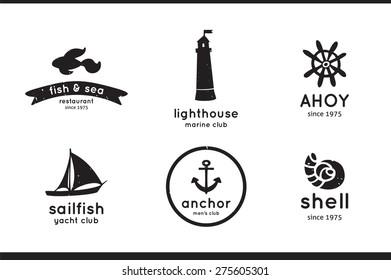 Set of sea, fish, shell, sailfish, anchor and lighthouse logo, labels and badges