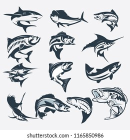 set of sea fish vector silhouette