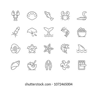 Set of Sea Food outline icons isolated on white background.