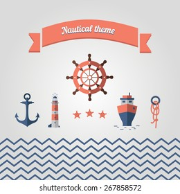 Set of sea icons. Nautical theme with a steering wheel, lighthouse, anchor, boat, rope, stars and the sea.