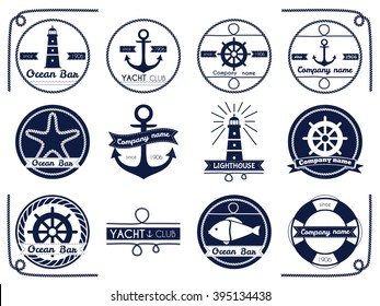 Set of sea and nautical badger and label isolated on white background. Vector illustration.