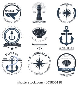 Set of sea and nautical decorations isolated on white background. Collection of elements for company logos, business marine anchor retro badge and ?decor design. Vector nautical logo.