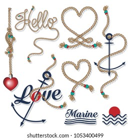 Set of sea and nautical and rope typography badges and design elements. Marine cruise, beach resort, seafood bar,  Vector collection on white background.