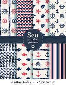 Set of sea and nautical seamless patterns in white, pink and dark blue colors. Vector illustration.
