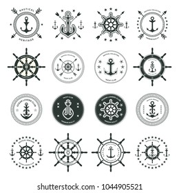 Set of sea and nautical typography badges and design elements. Templates for company icon or web decoration. Marine cruise, beach resort, shipbuilding. Vector collection. Logotype Logo