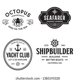 Set of sea and nautical typography badges and design elements. Templates for company logo. Marine cruise, yacht club, trading companym, shipbuilding and other themes. Vector collection.