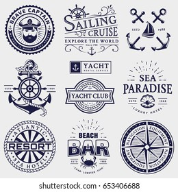 Set of sea and nautical typography badges. Collection of vector templates for company logos, business identity or web design. Sailing cruise, yachting, resort hotel, navigation and other themes.