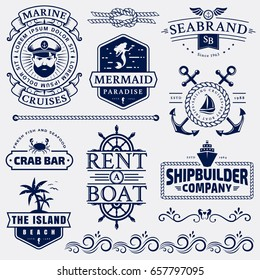 Set of sea and nautical typography badges and design elements. Templates for company logo or web decoration. Marine cruise, beach resort, seafood bar, shipbuilding and other themes. Vector collection.