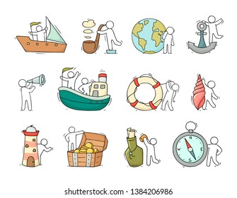 Set with sea objects and people. Anchor, bottle, lighthouse, shell, lifebuoy, pipe isolated on white background. Vector cartoon illustration.