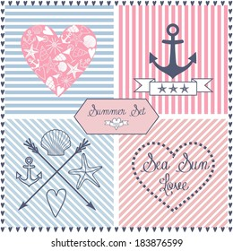 Set of sea themed objects: anchor, hearts, shells, sea star, stripes and ribbon. Summer vector design on nice backgrounds. icons set.