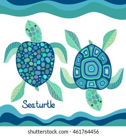 Set of sea turtles with a decorative pattern, vector illustration